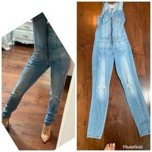 Guess jeans denim jumpsuit skinny XS-0